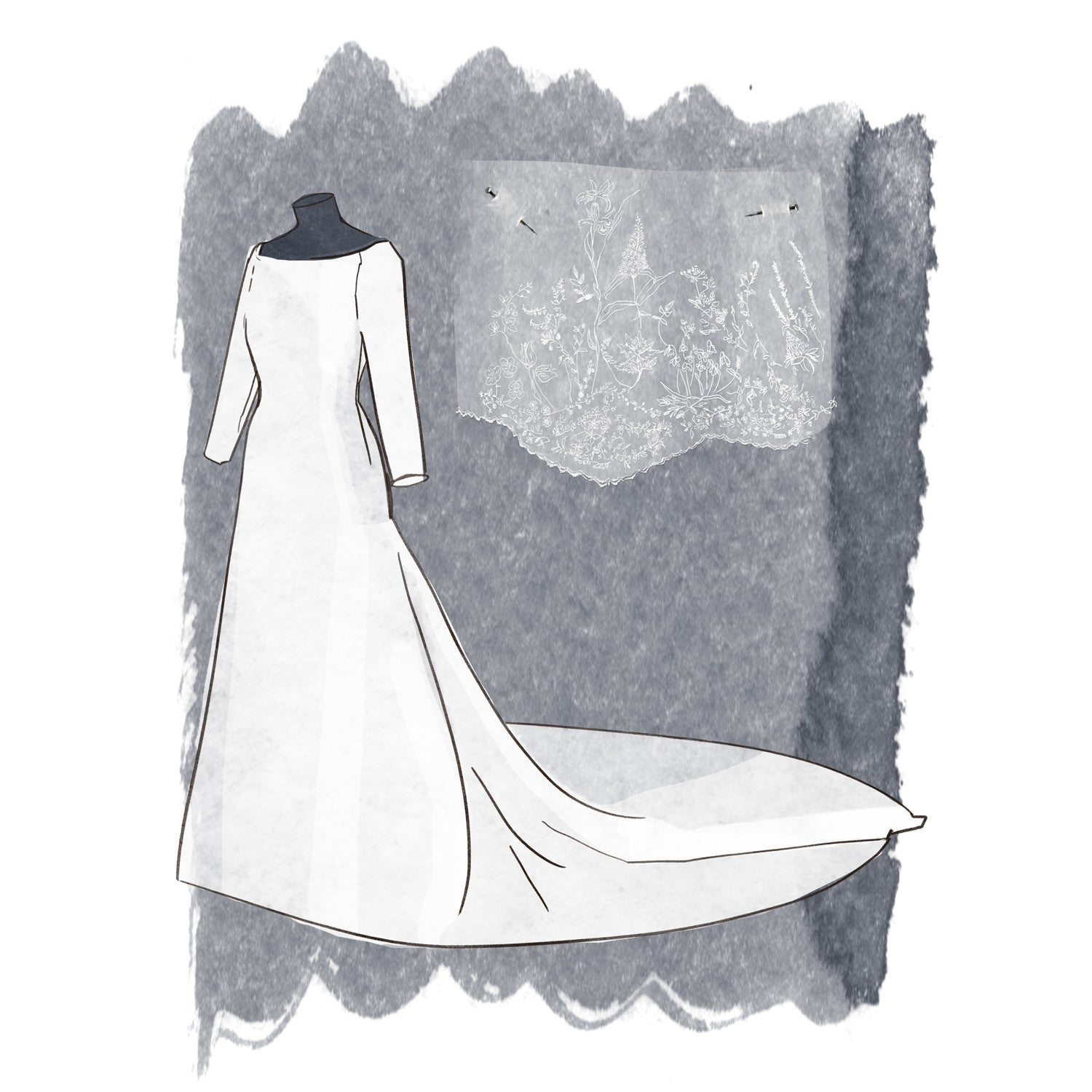 meghan markle wedding dress and veil