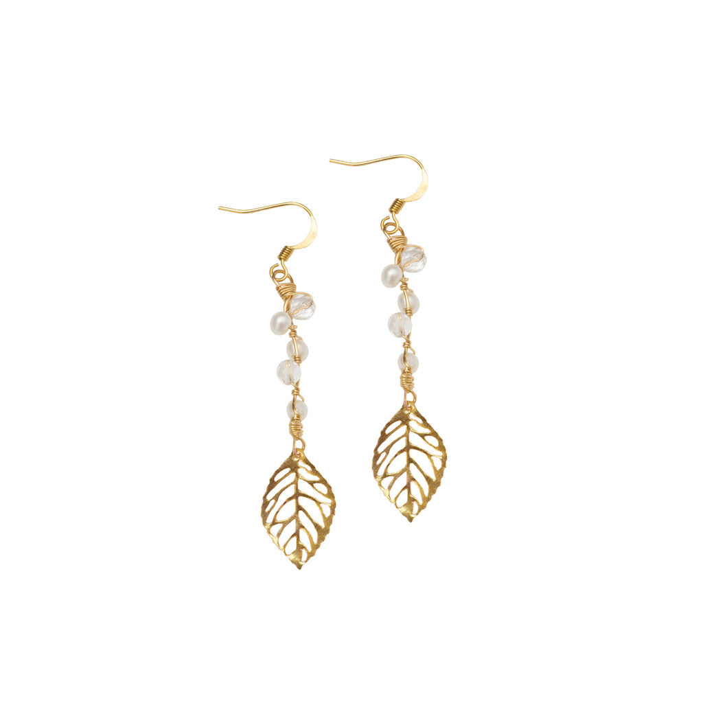 bridal leaf earrings