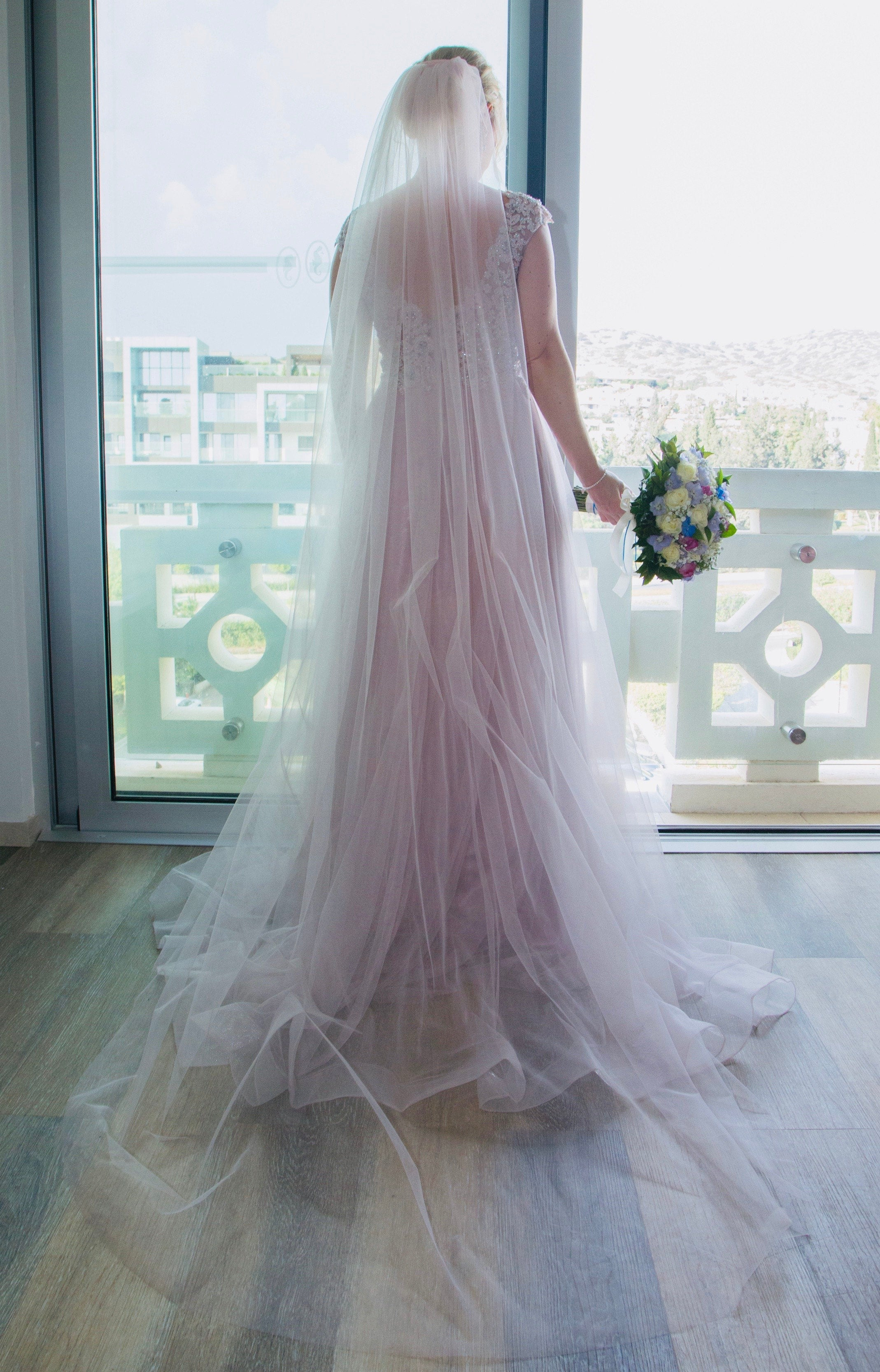 blush pink single tier cut edge wedding veil Ariana