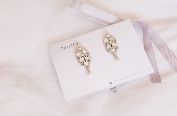 Silver and crystal drop earrings | Iris | Britten bride | Cerys