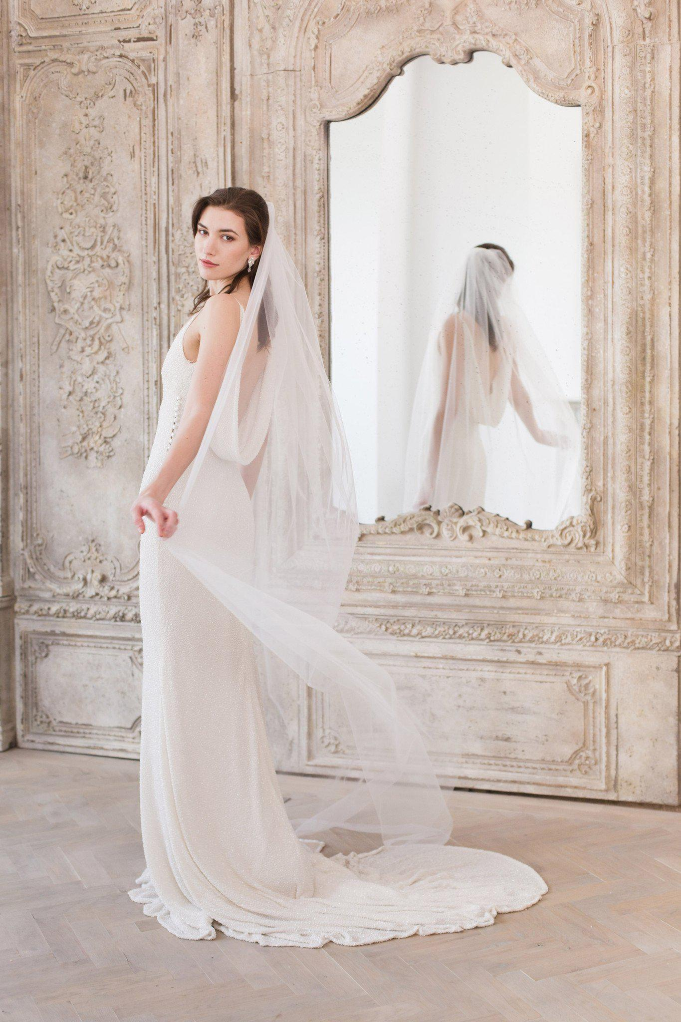 Single tier cut edge wedding veil - 'Niacae'