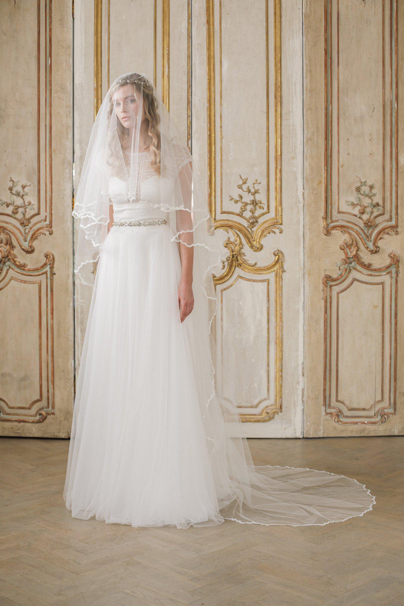 Delicate lace edged two tier wedding veil - 'Millie'