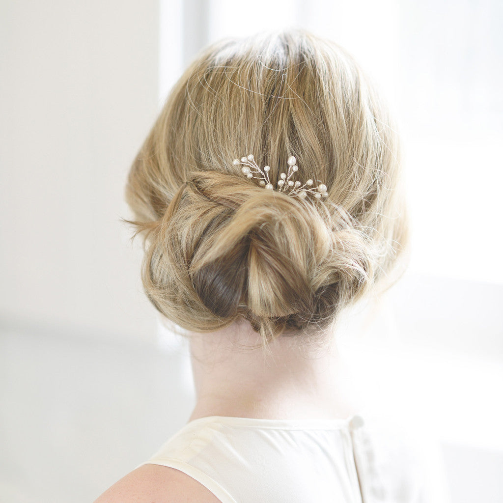 freshwater gold wedding hair pins