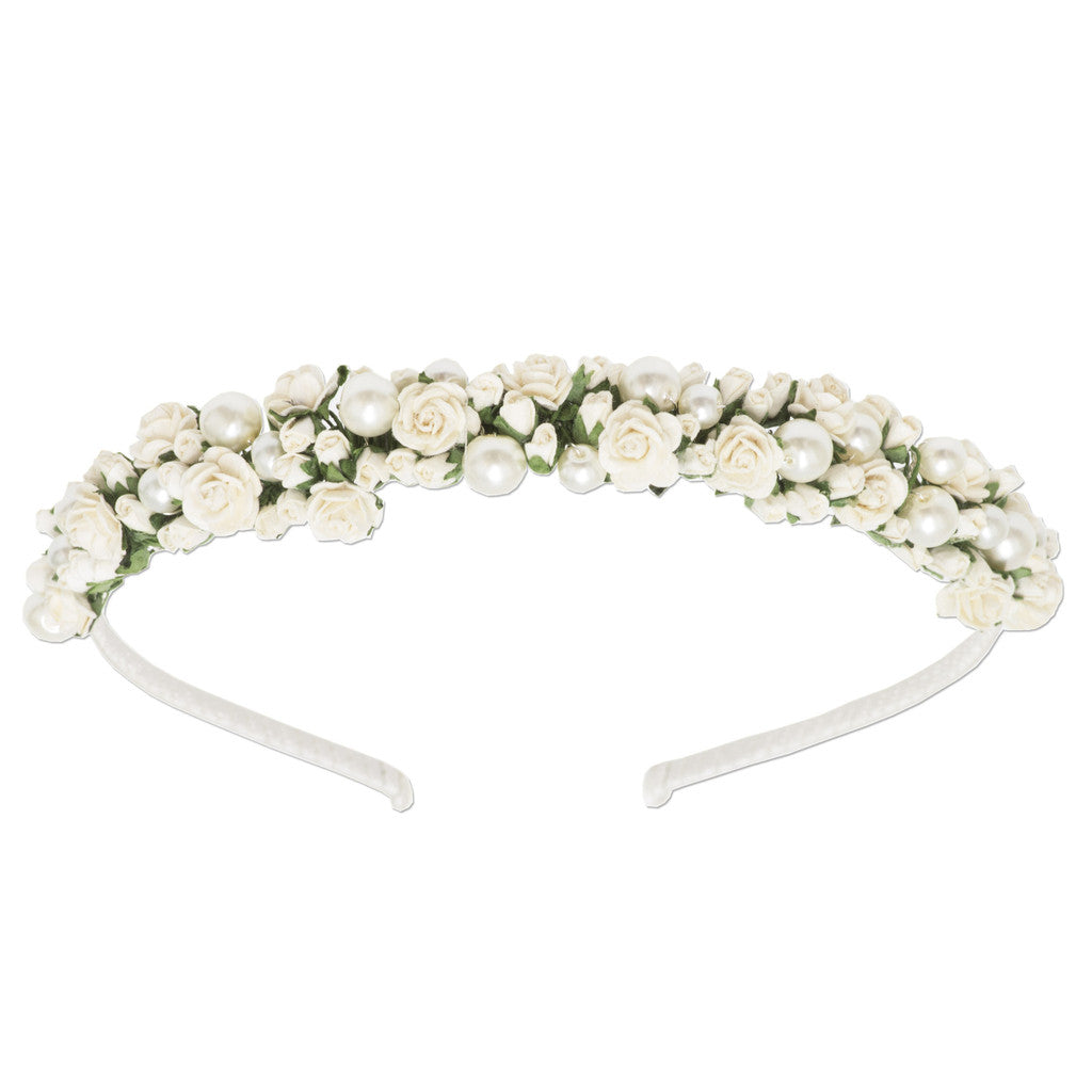Rosie ivory rose and pearl bridal head band by Britten Weddings