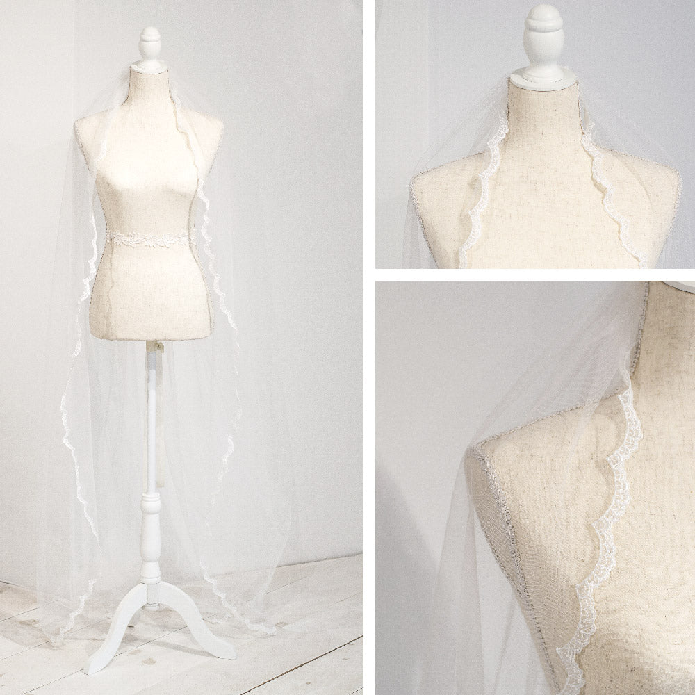 delicate lace edged wedding veil
