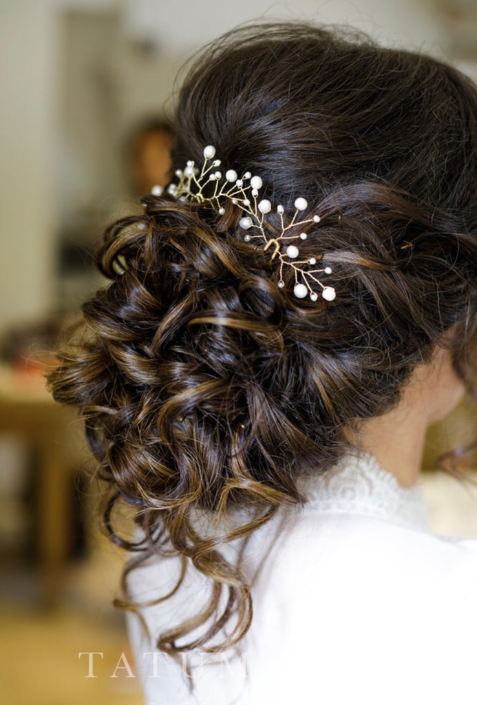 pearl and gold wedding hair pins