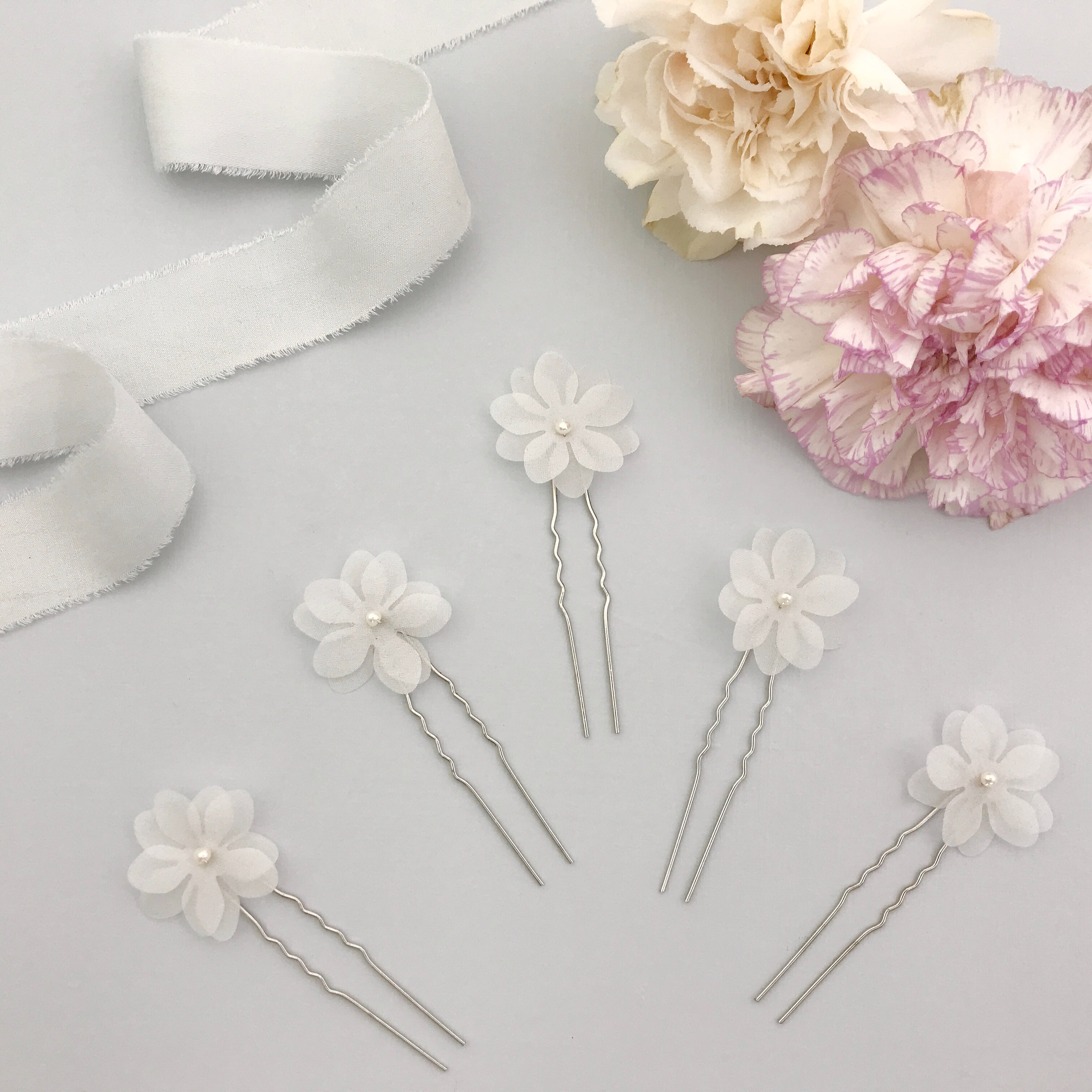 silk flower hair pins