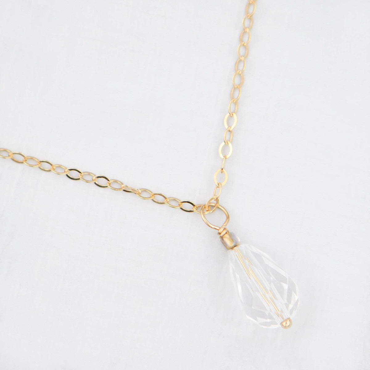 Wedding Necklace 14k gold filled Gold filled crystal back drop necklace lariat for wedding - 'Clea'