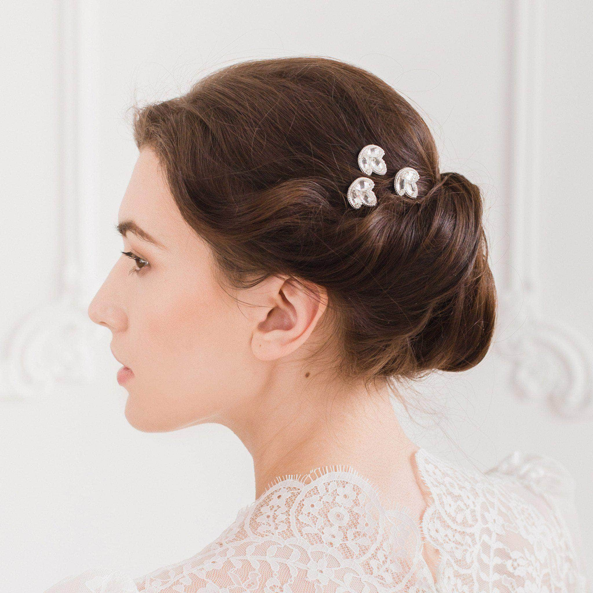 silver deco wedding hair pins