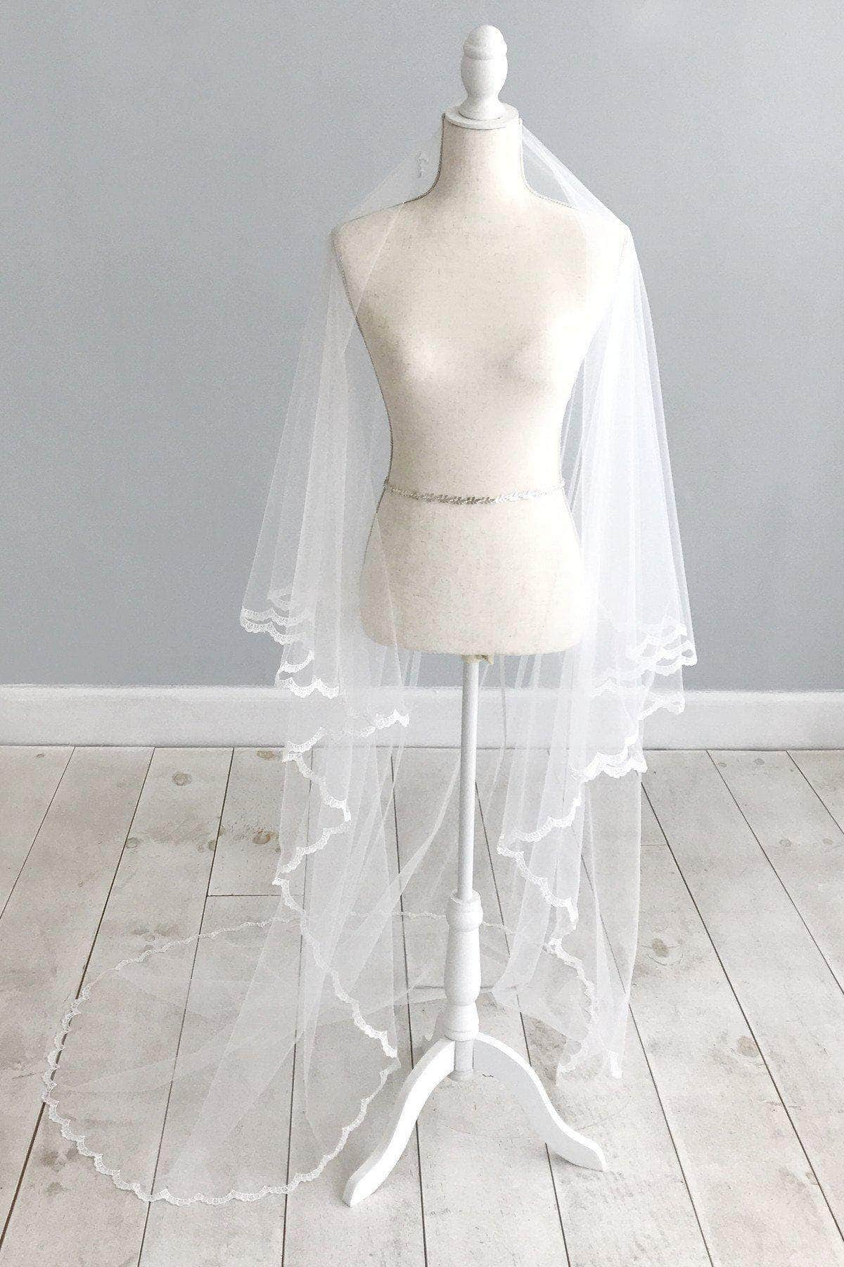 Wedding Veil Lace edged drop wedding veil - 'Alyce'