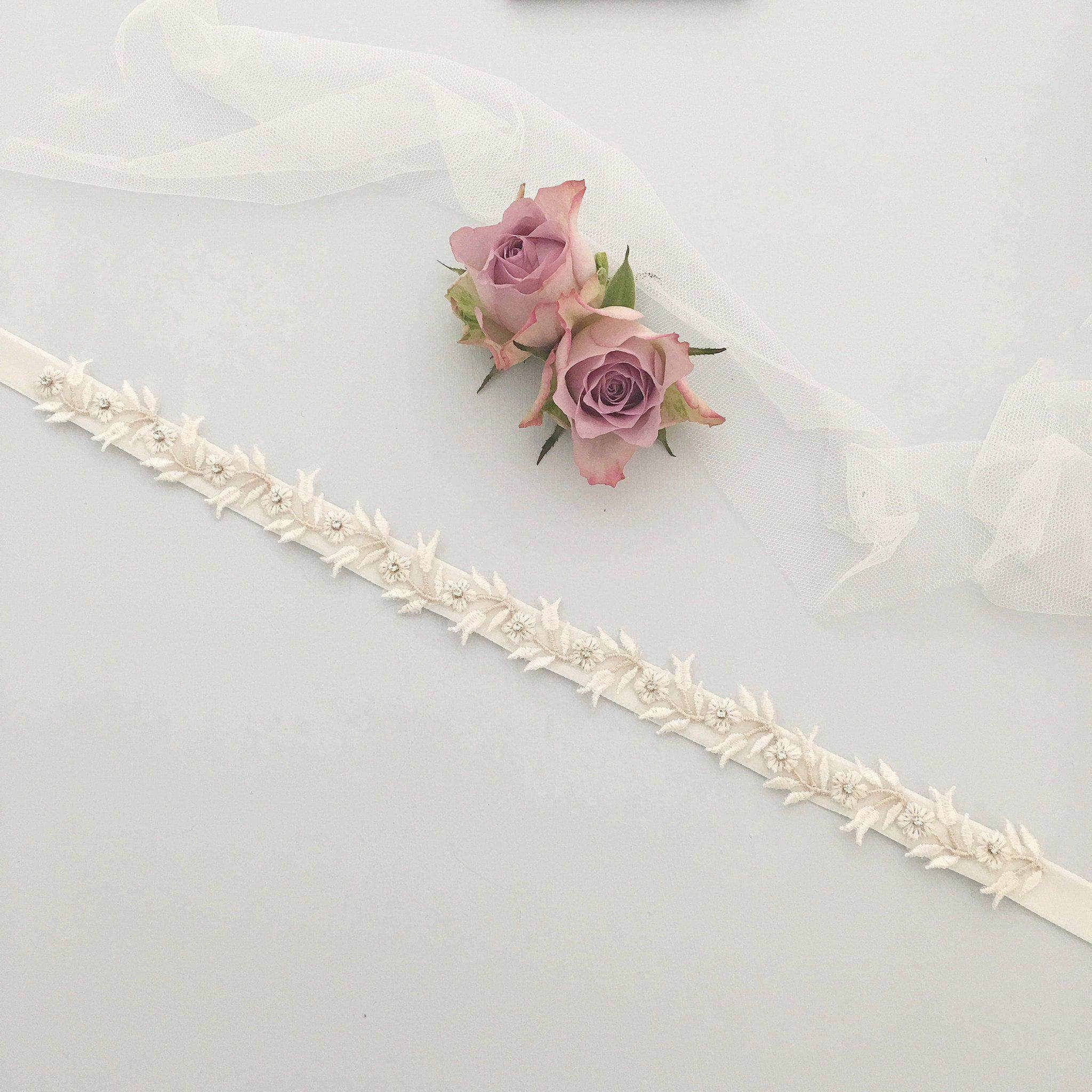 blush lace wedding belt
