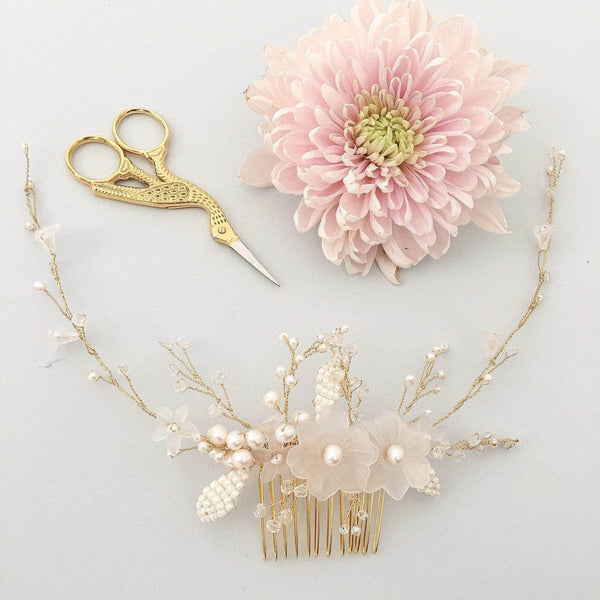 Floral Wedding Hair Comb By Britten: Gold And Ivory Floral Wedding Hair Comb Vine