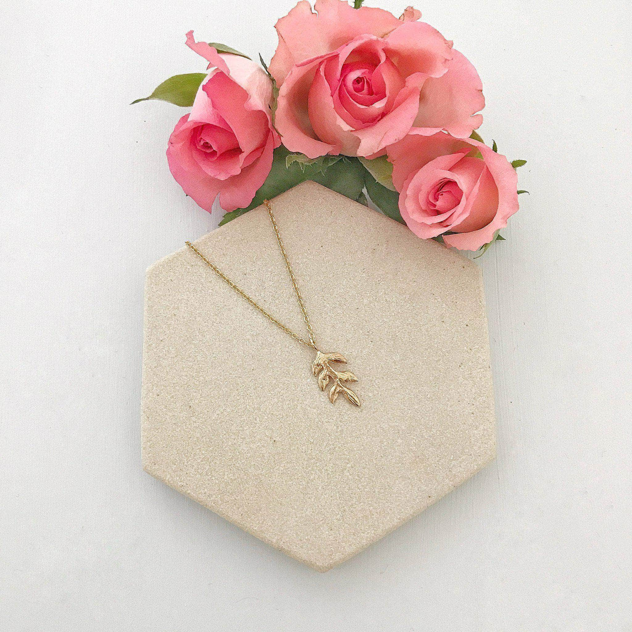 gold leaf wedding necklace