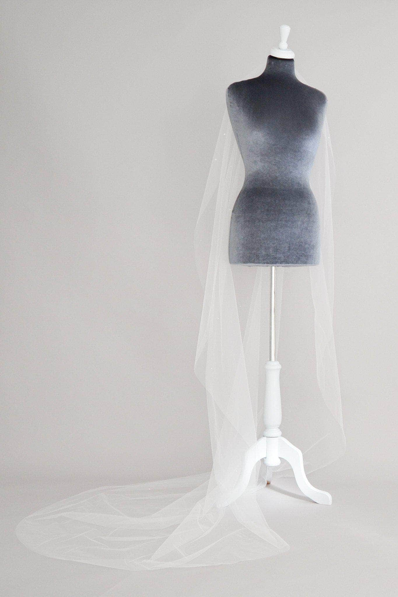 Wedding Veil Crystal scatter barely there wedding veil in illusion tulle - 'Athena'