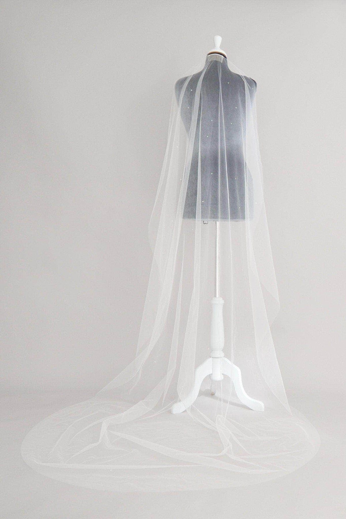 Wedding Veil Crystal scatter barely there wedding veil in illusion tulle - 'Athena' - *Off-white discontinued*