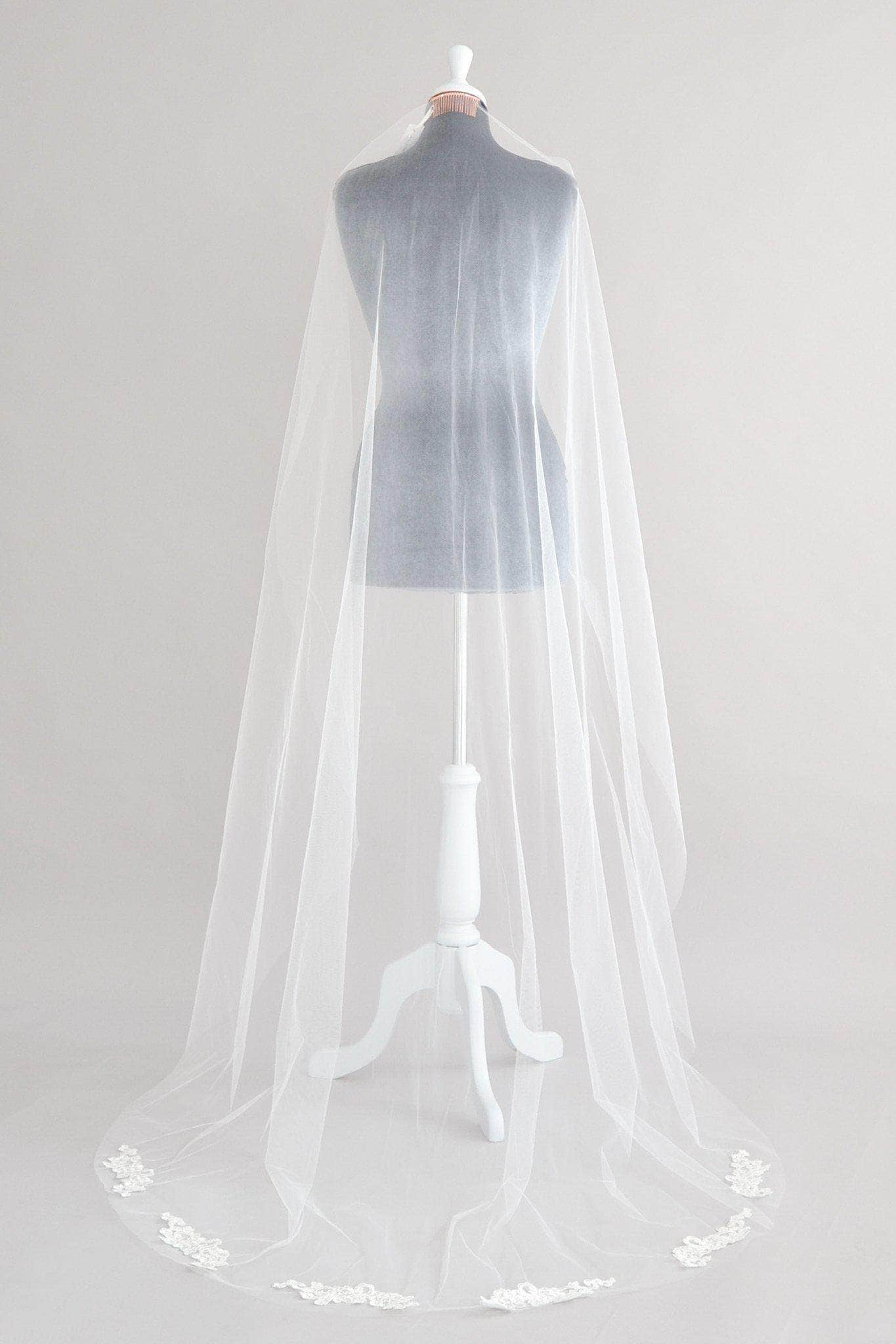 Lace motif train wedding veil