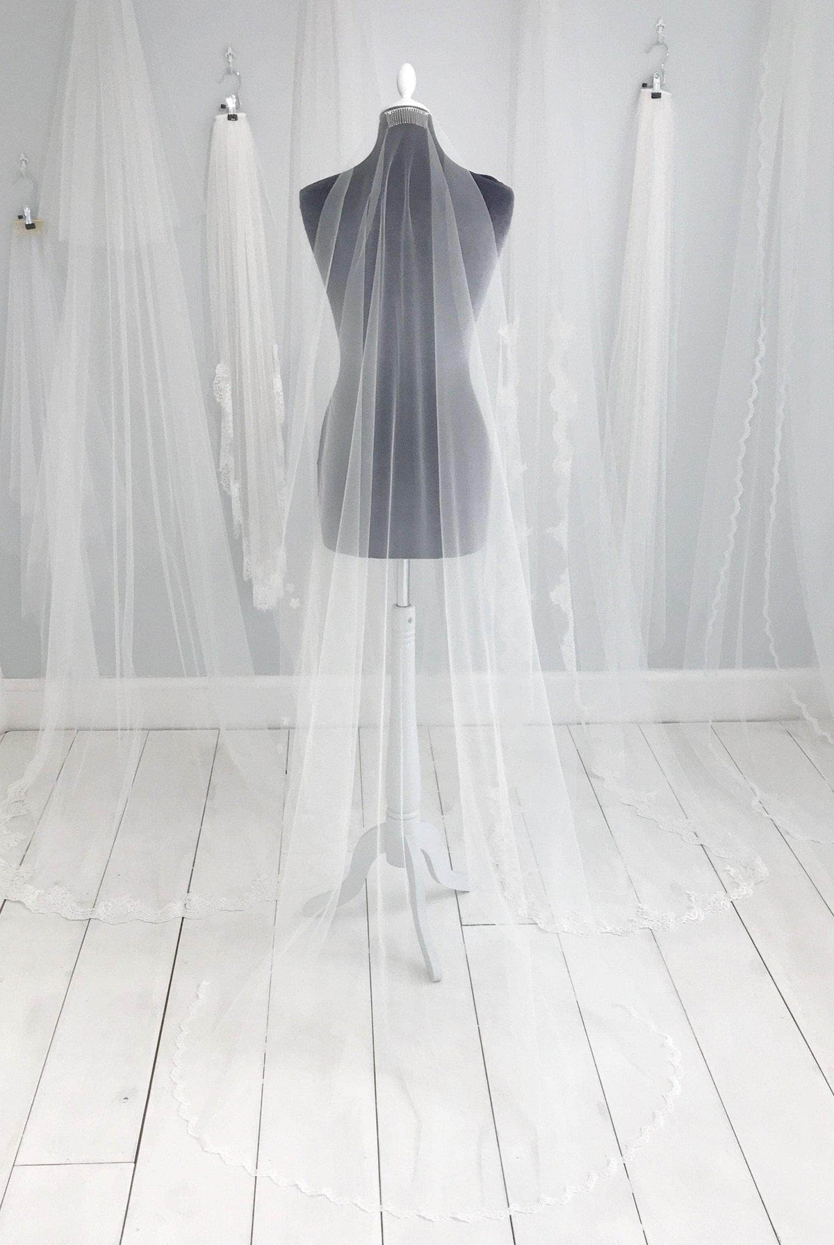 Wedding Veil Semi lace edged barely there wedding veil - 'Adah'