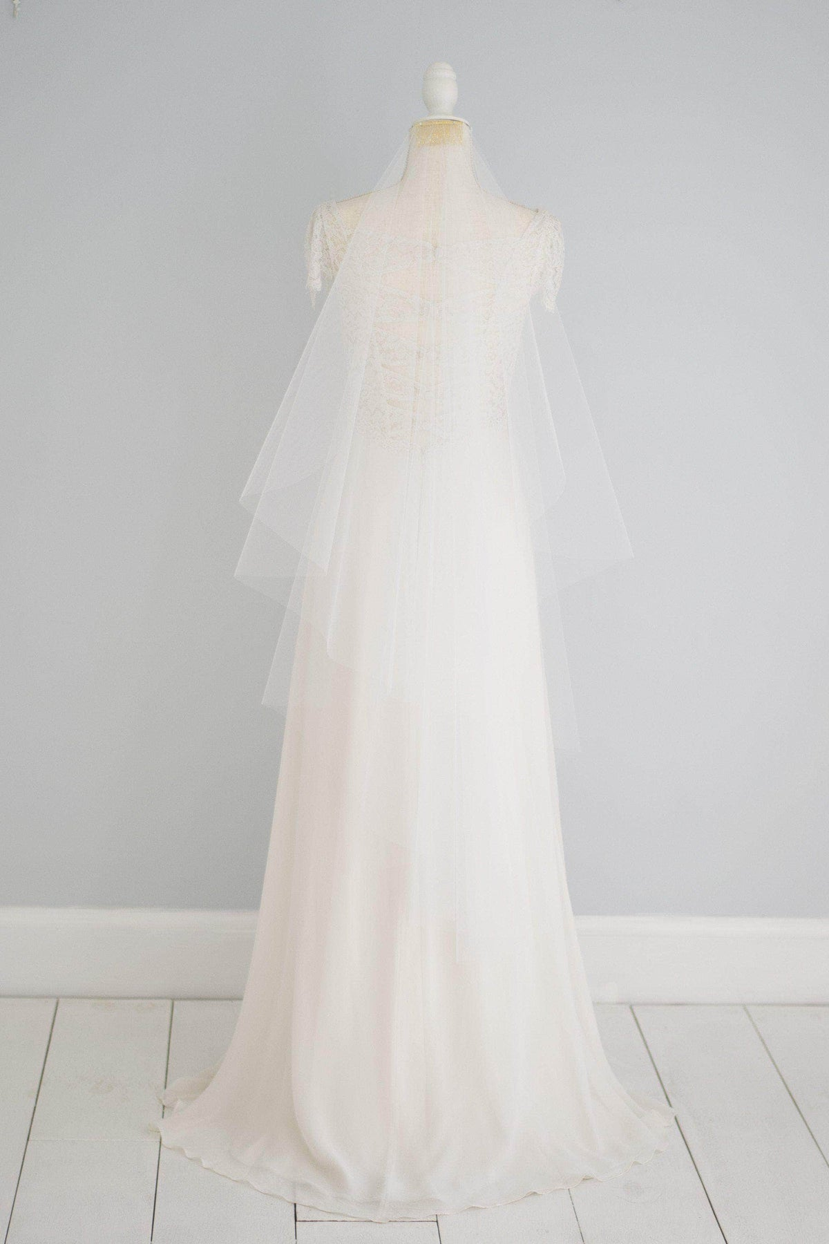 waterfall barely there wedding veil