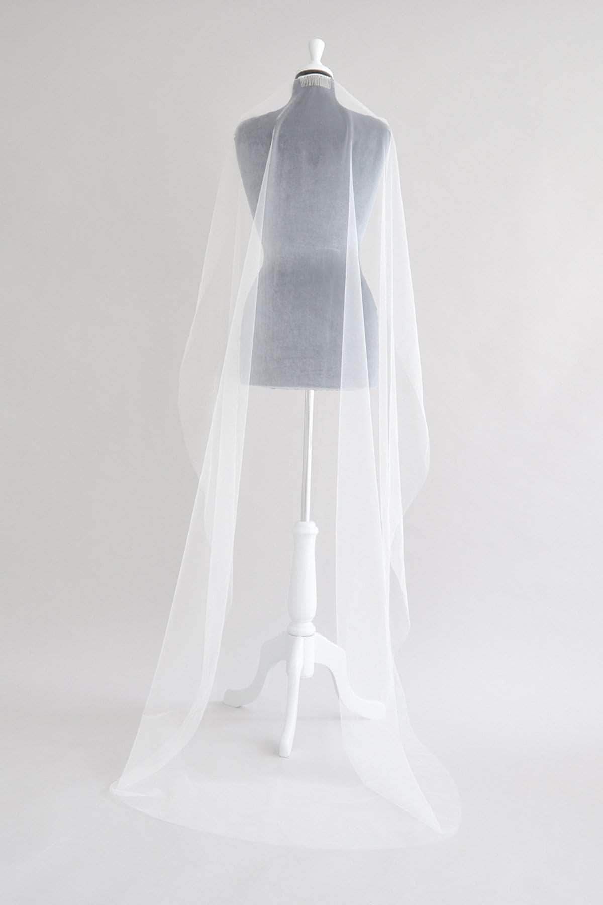 Wedding Veil Illusion tulle barely there wedding veil - 'Angelica'