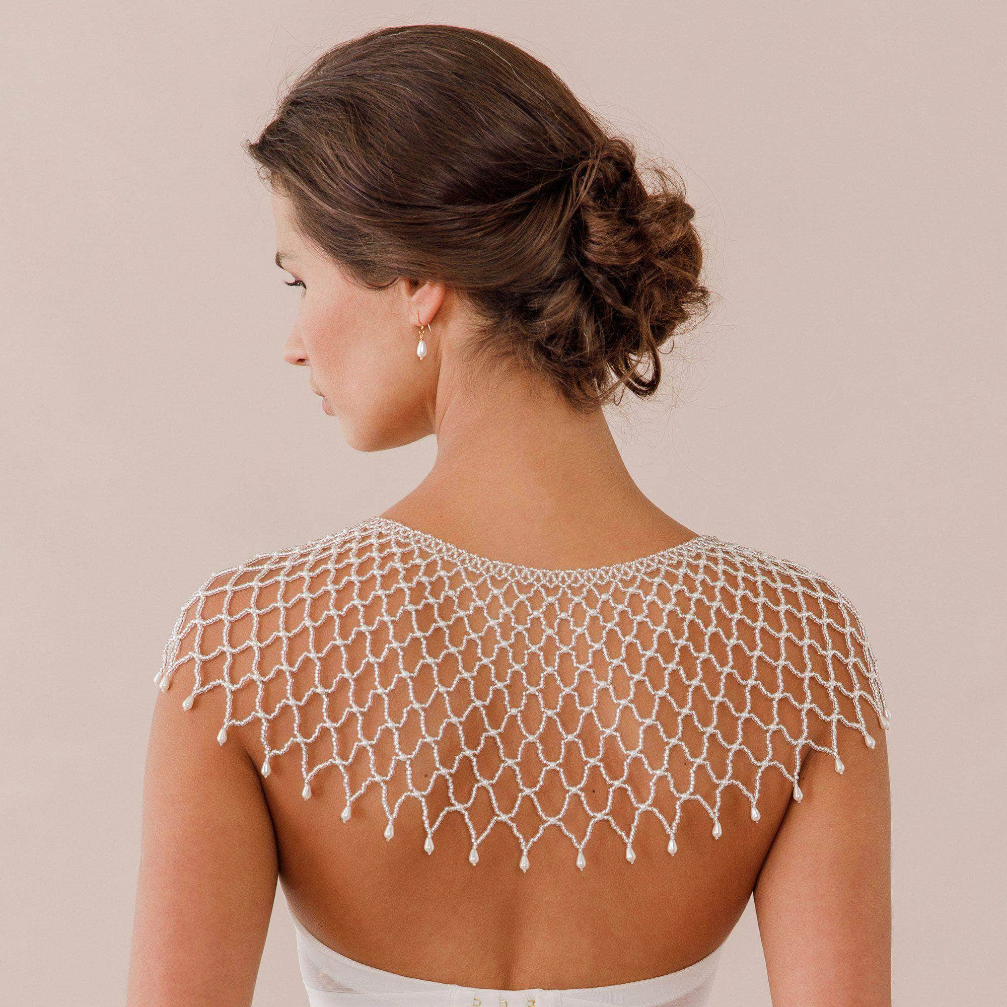 silver bead capelet cover up