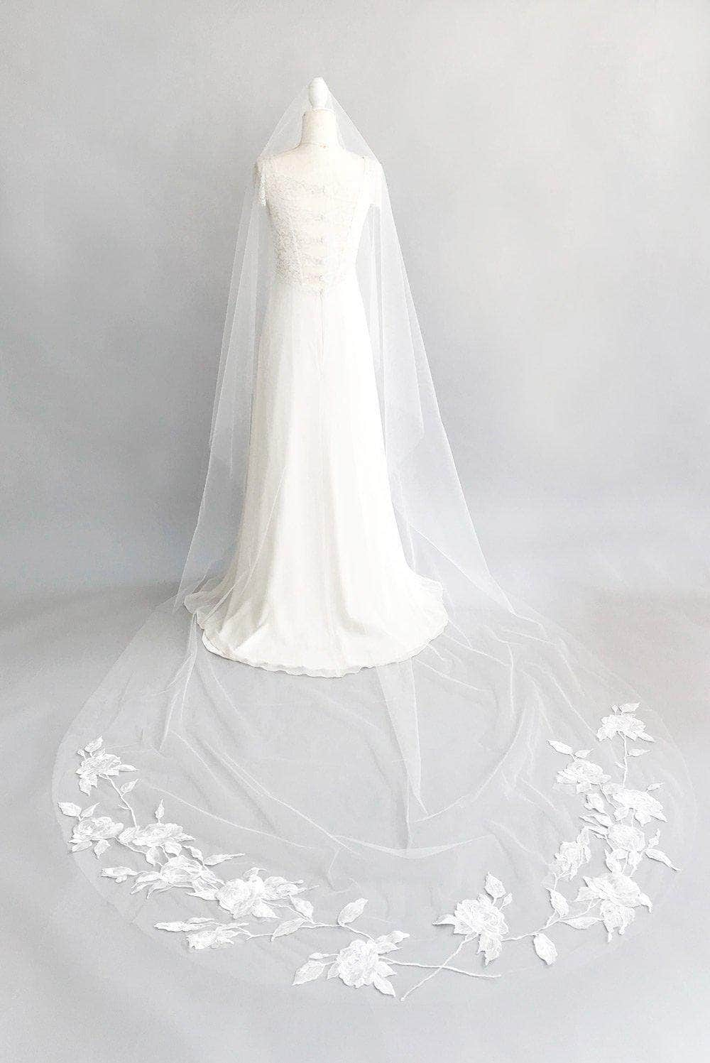 barely there veil with floral embroidered train