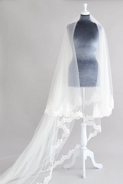extra long blusher two tier sequin lace veil