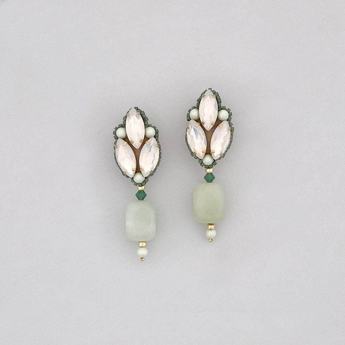 Wedding Earring Green Green, opal and gold semi precious earrings - 'Brynn'