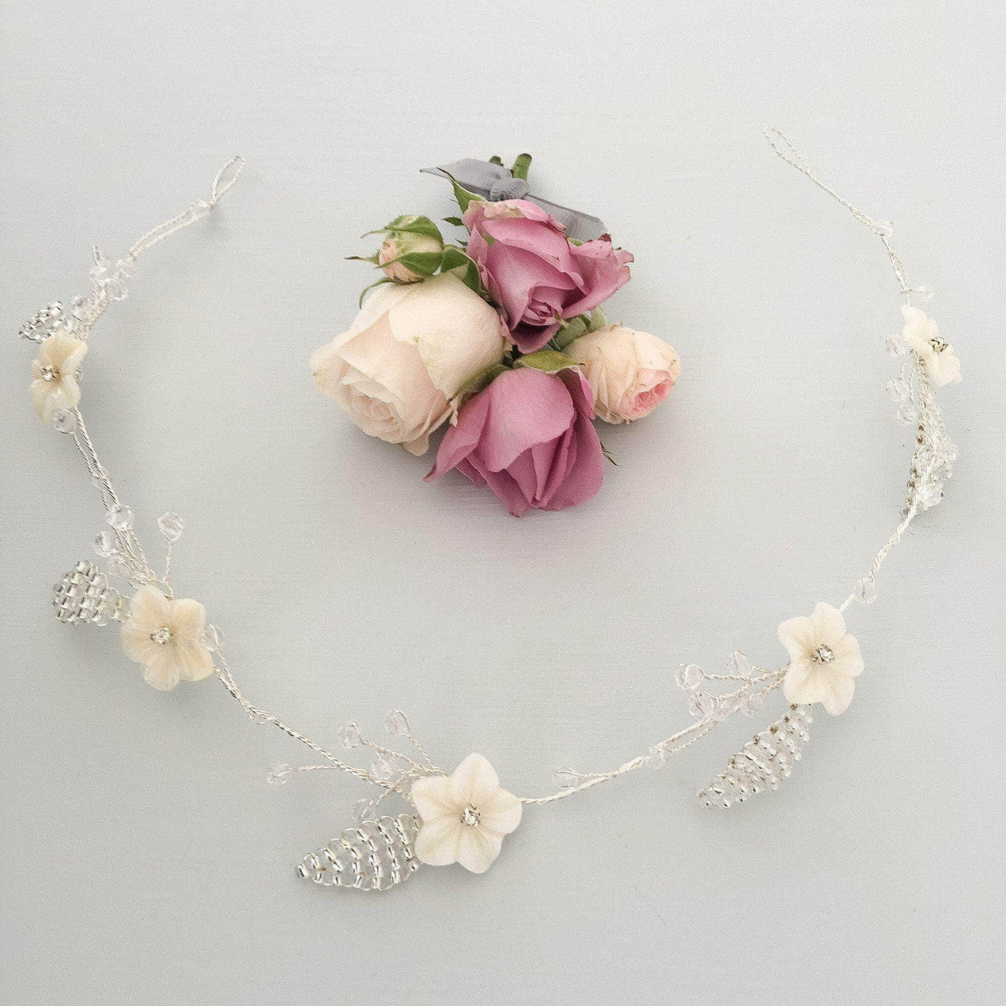 Mother Of Pearl Floral Hair Vine On Silver Plated Wire