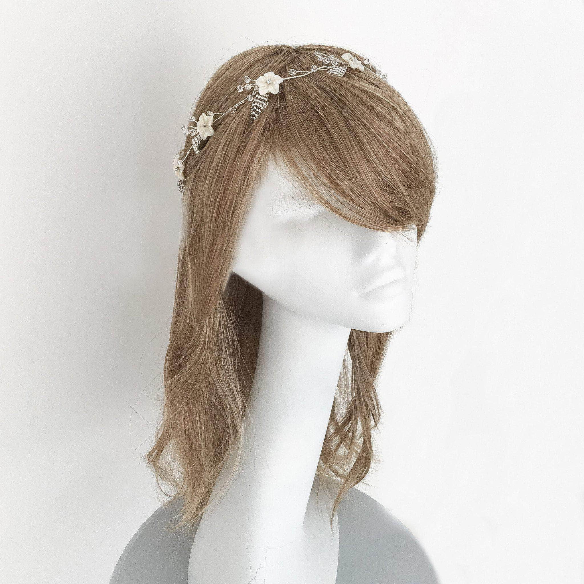 Mother of pearl floral hair vine on silver plated wire- \'Blossom ...
