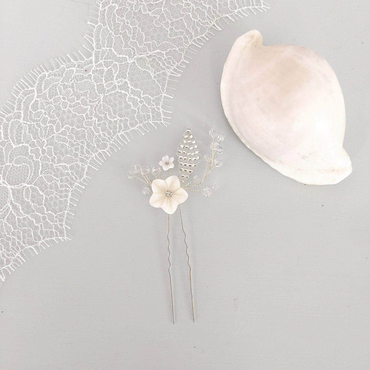 mother of pearl flower wedding hair pins