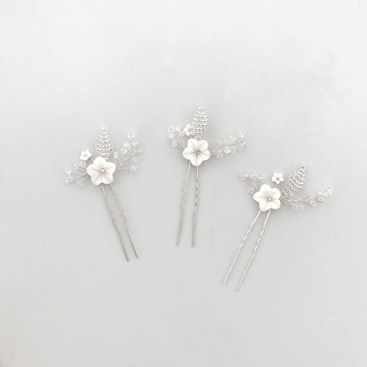 Wedding Hairpin Mother of pearl flower wedding hair pins (x3) - 'Blossom'