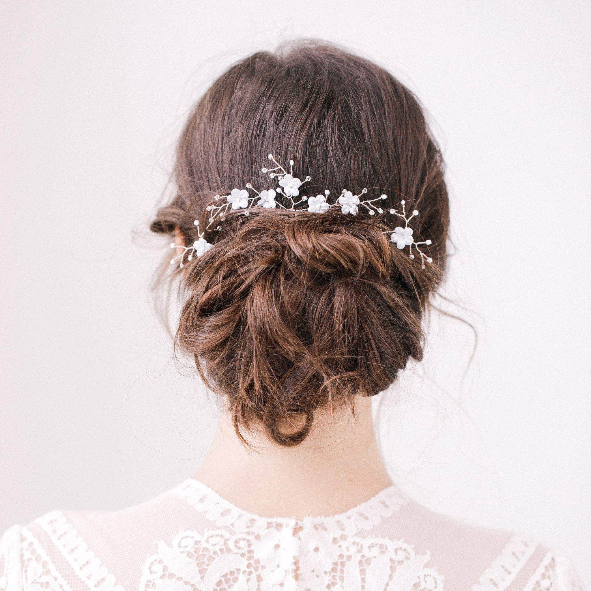 Wedding Hairstyles With Flower: Blue Flower Wedding Hair Pins With Silver Sprays Set (x3