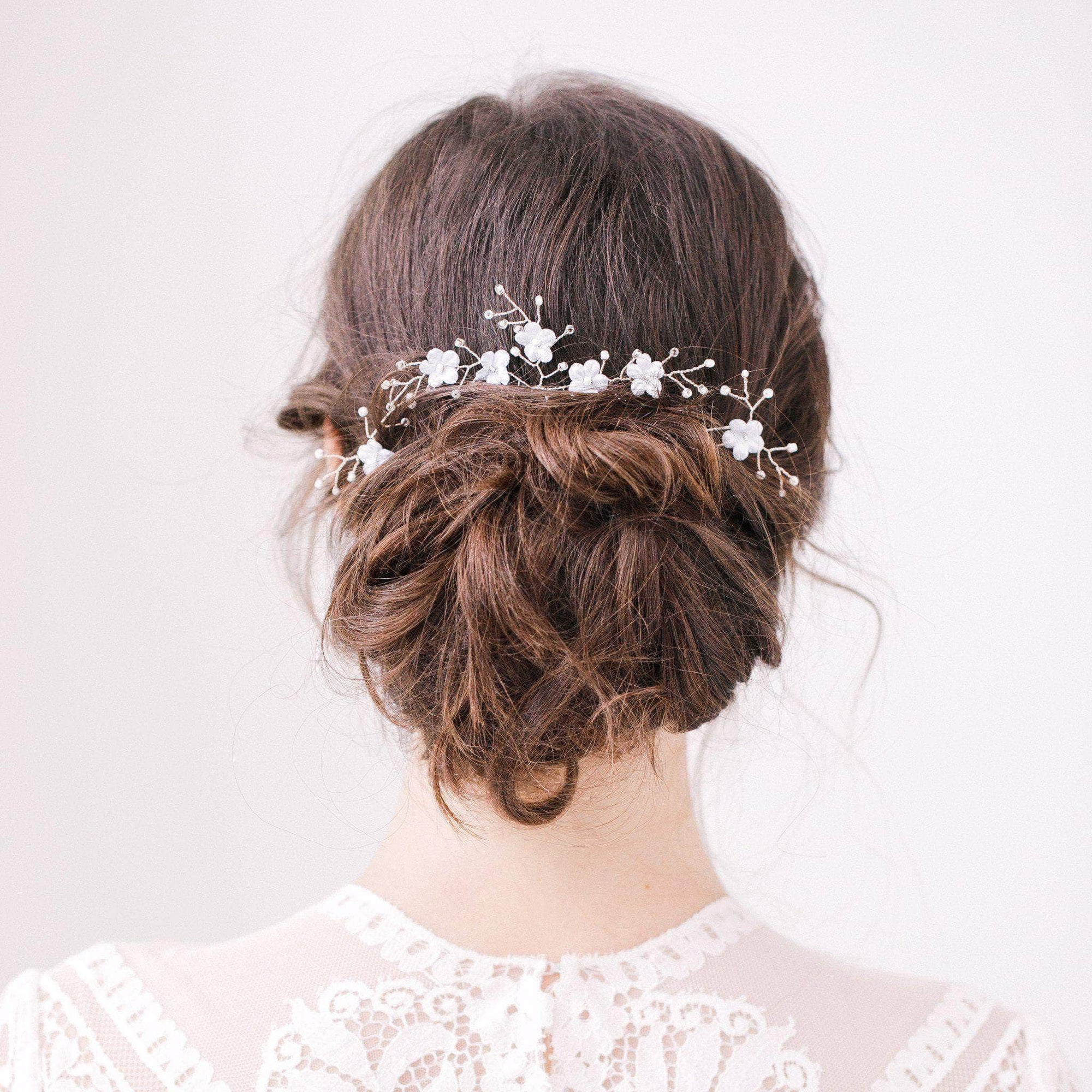 Wedding Hairpin Blue flower wedding hair pins with silver sprays set (x3) - 'Hope'