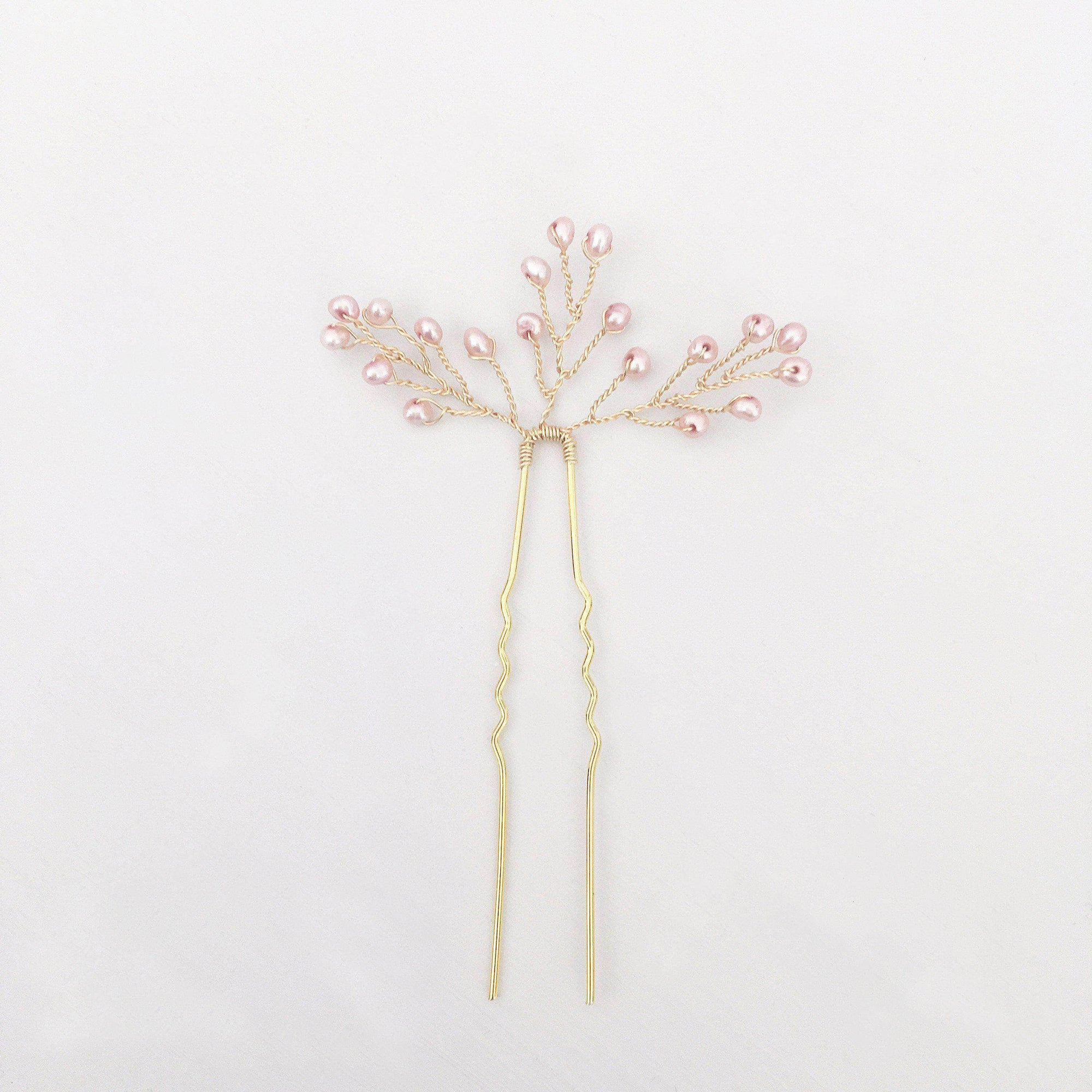 blush pink and gold wedding hair pins