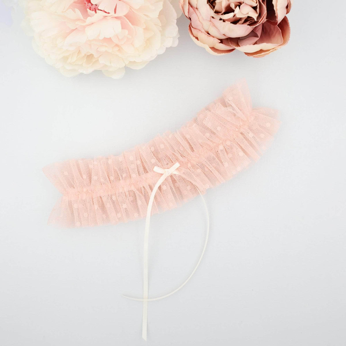 Wedding Garter Blush pink dot tulle wedding garter - 'Heidi'