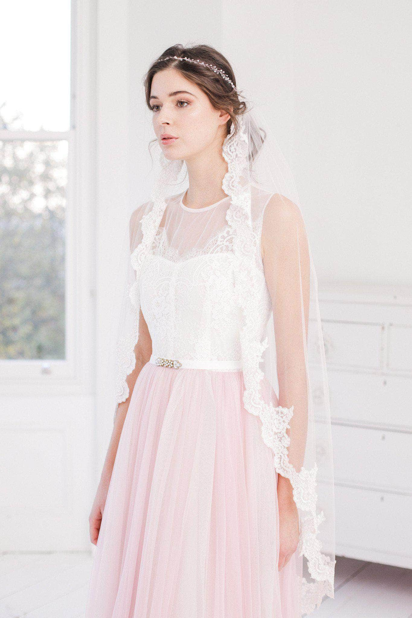 Blush pink single tier lace edge wedding veil