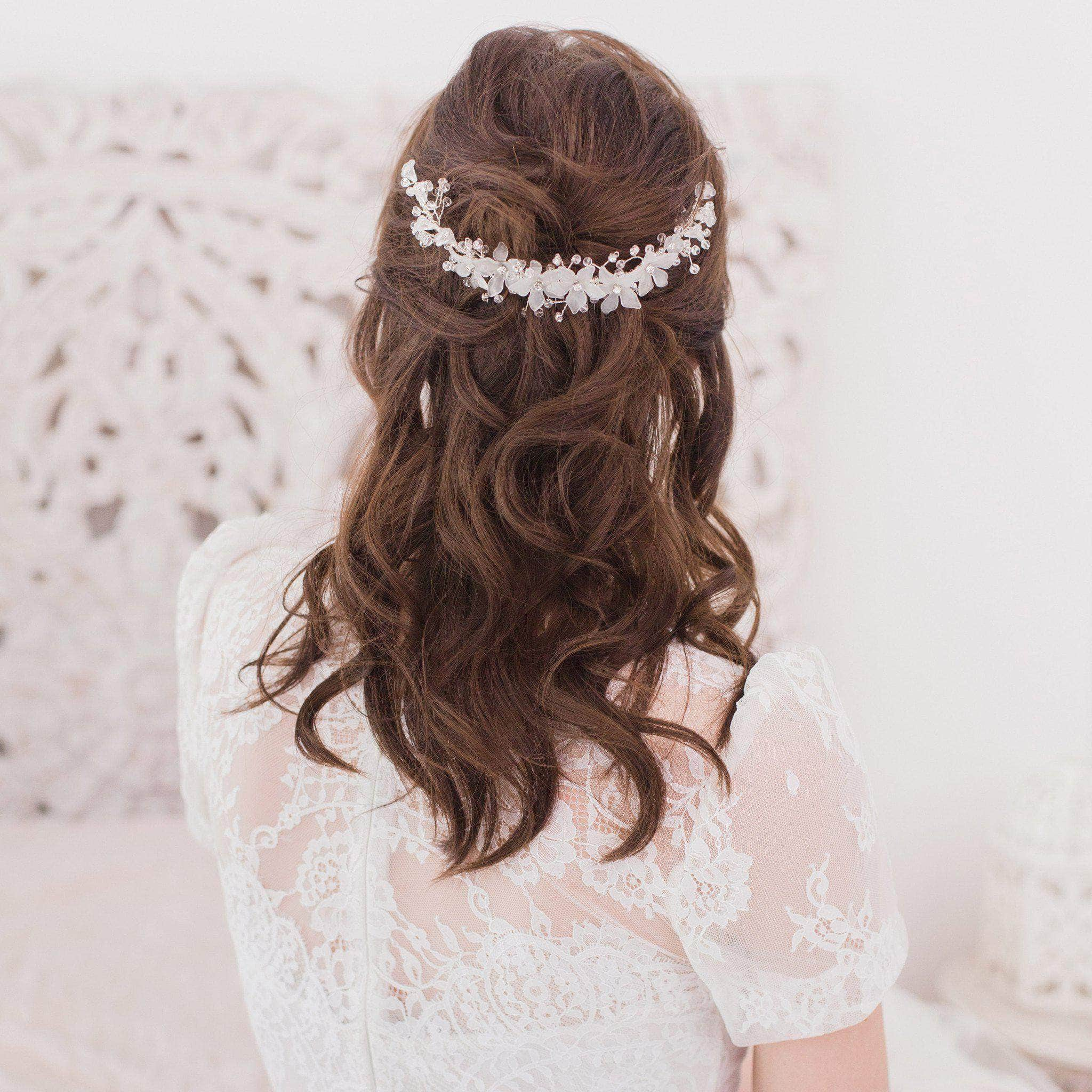 gold flower and crystal wedding hair comb - 'titania' | britten