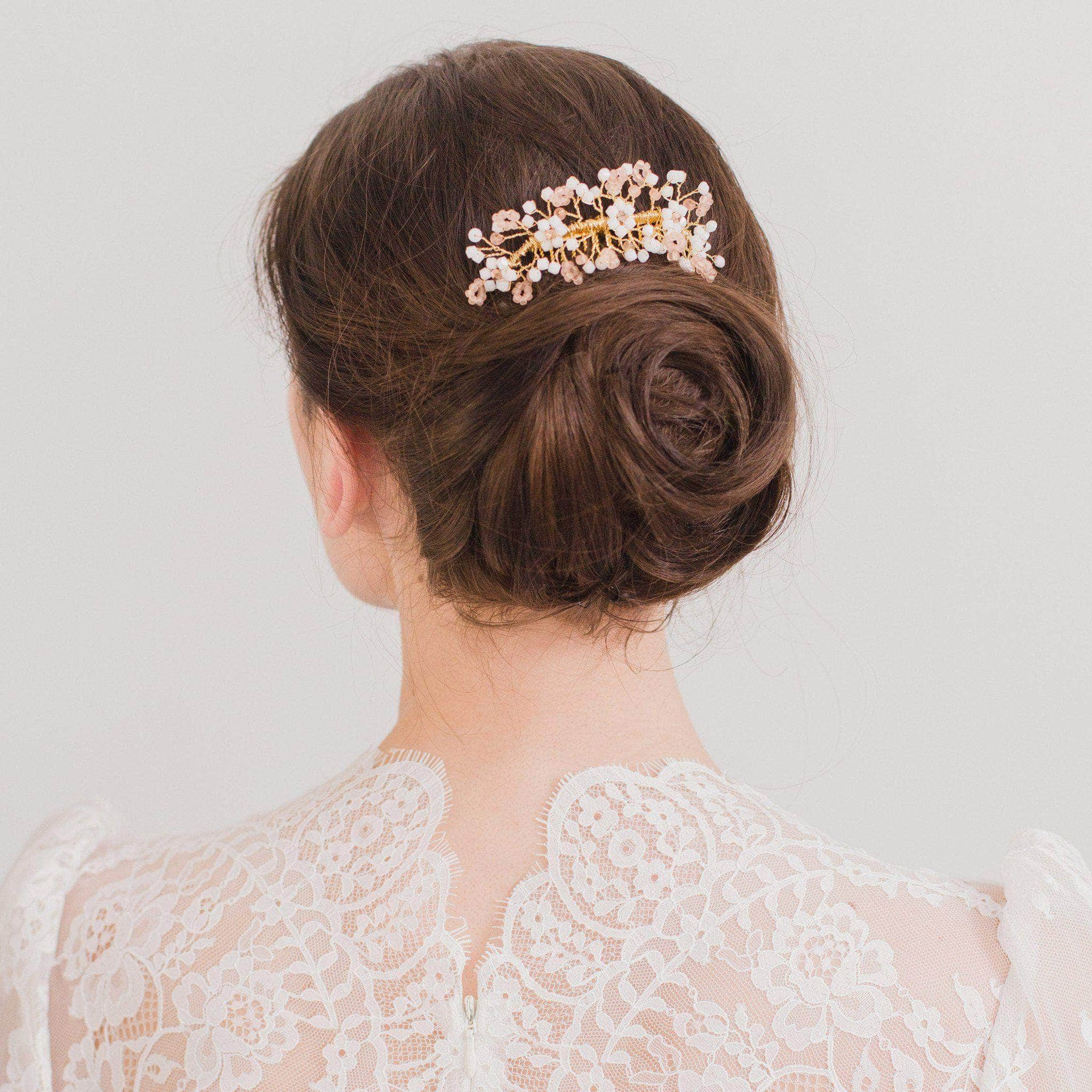 Wedding Haircomb Gold Wedding hair comb with blush and frosted Swarovski crystals - 'Helena'