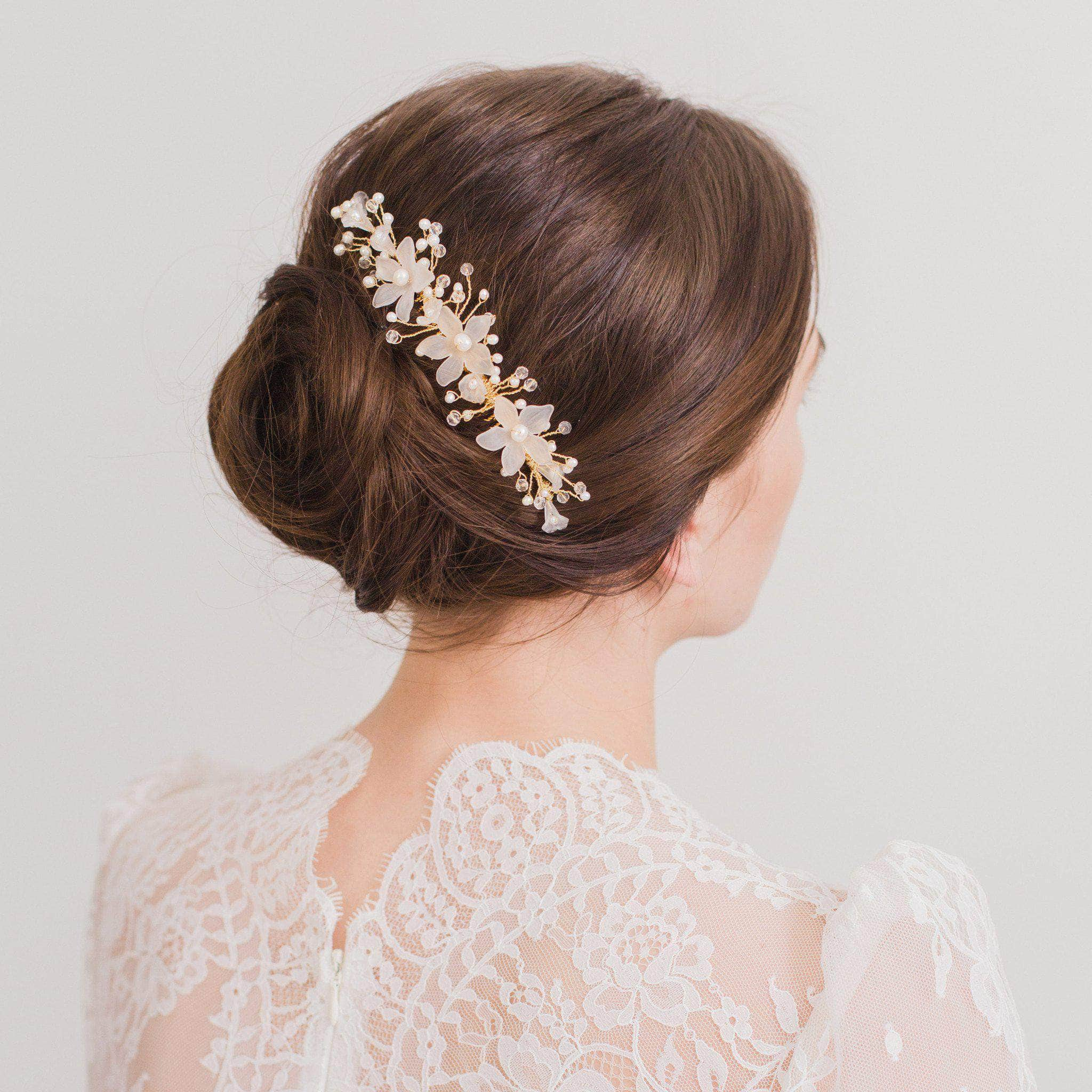 Floral Wedding Hair Comb By Britten: Gold Wedding Hair Vine Comb With Freshwater Pearls