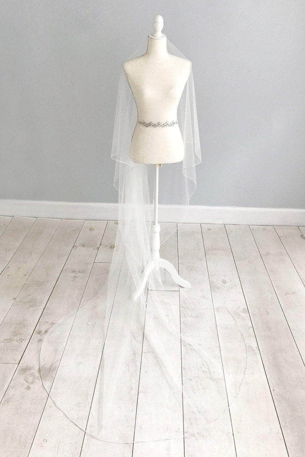 braid soutache edge wedding veil two tier