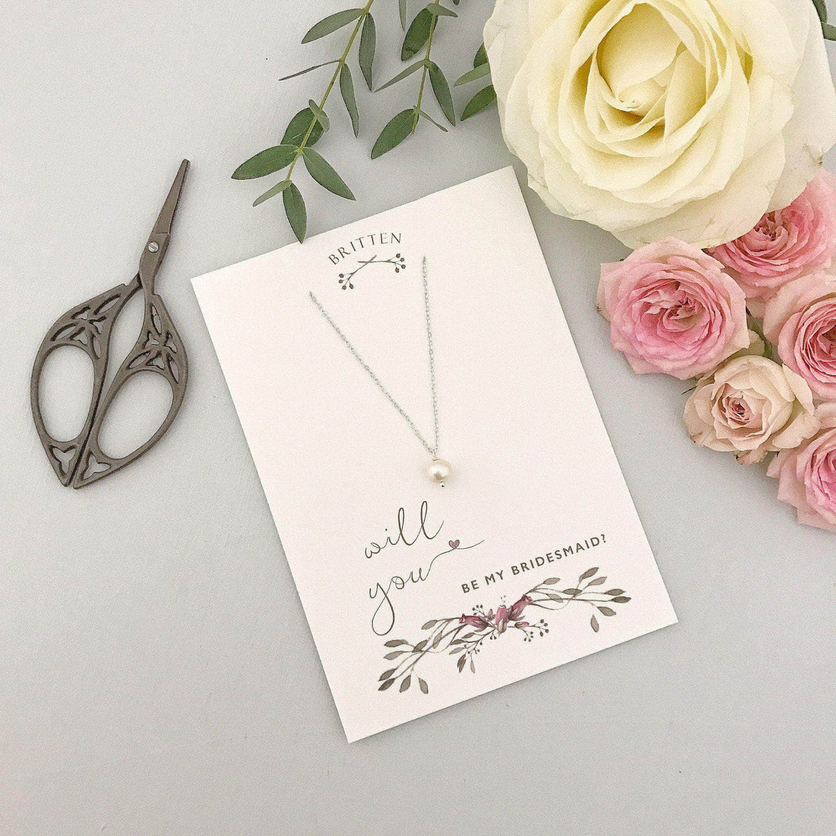 Bridesmaid Gift Silver Will you be my bridesmaid gift necklace - 'Seville' in silver