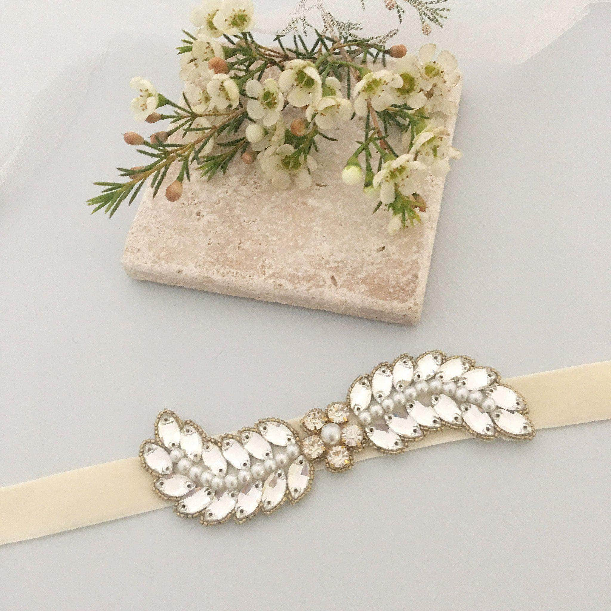 Gold flower wedding belt - 'Caris' | Britten Weddings
