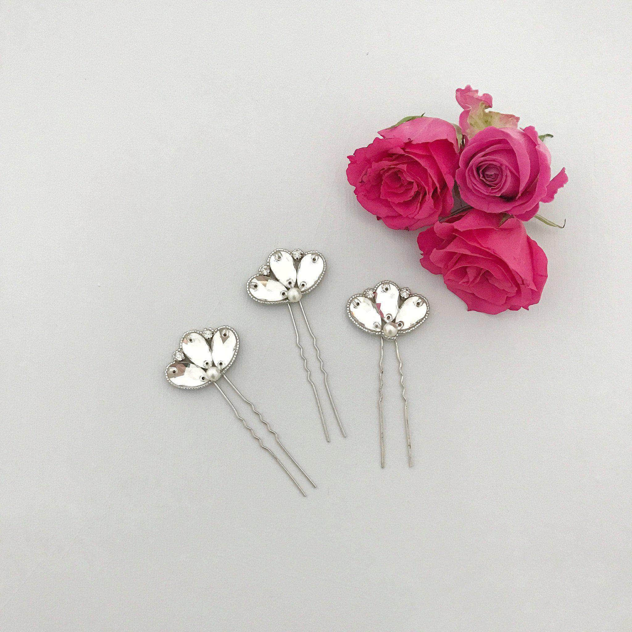 Deco wedding hair pins silver crystal and pearl (x3) - 'Casey'