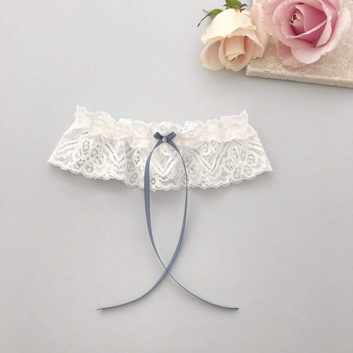 Wedding Garter Something blue lace wedding garter - 'Catherine'