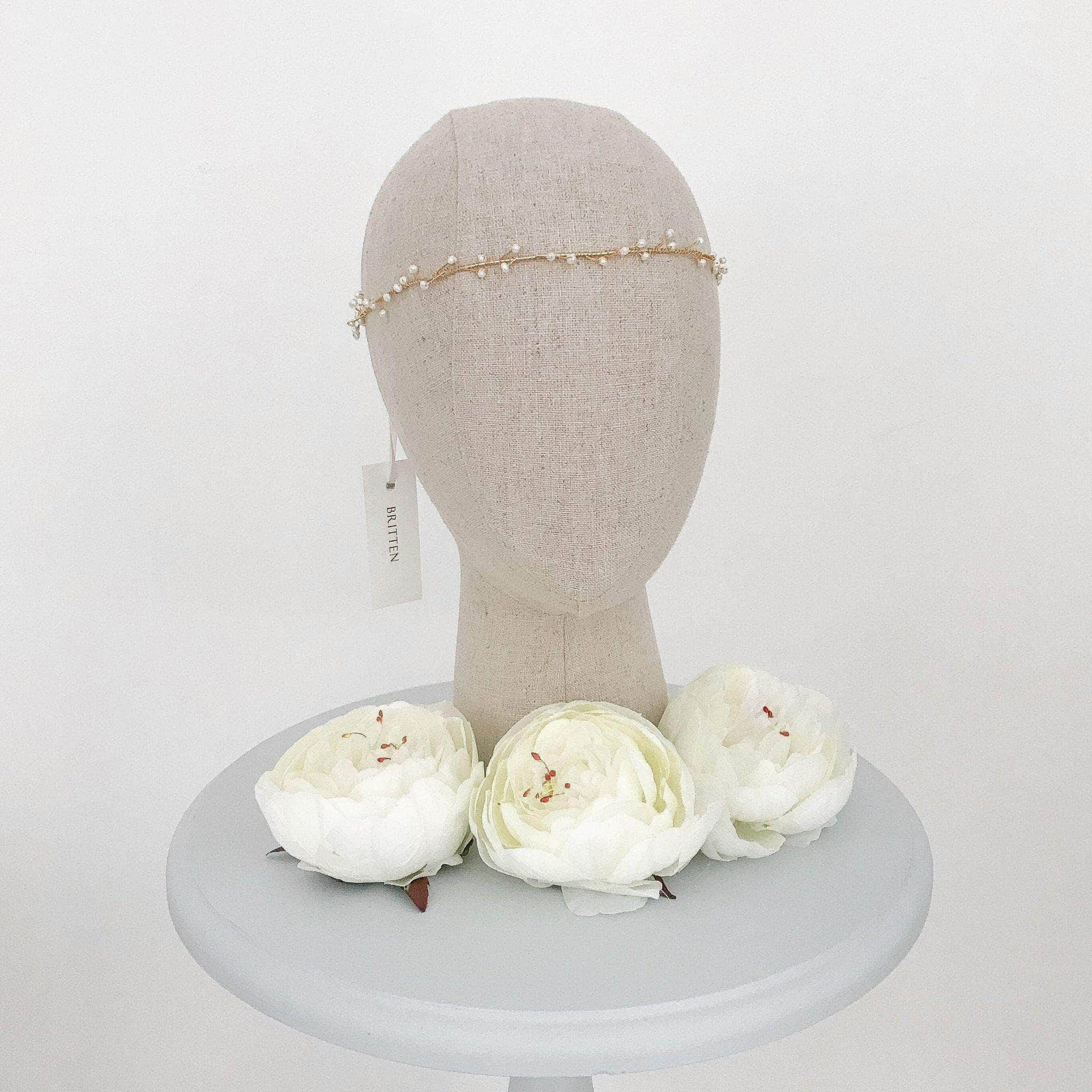 *New* Pearl wedding hair vine gold - 'Cerse'