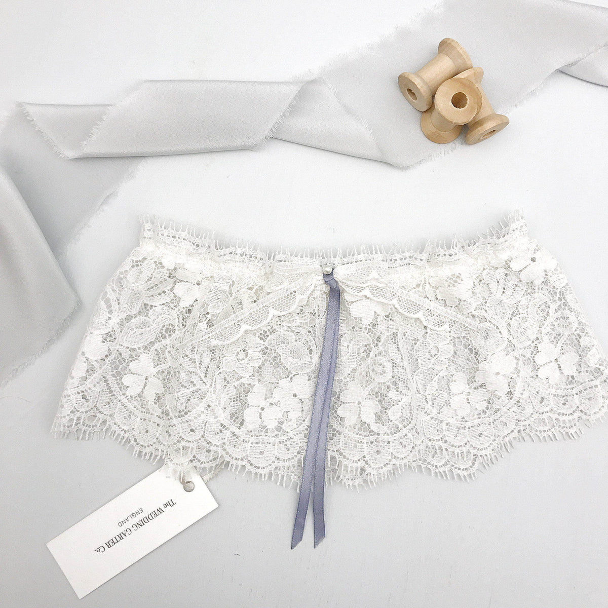Wedding Garter Lace wedding garter blue ribbon bow - 'Clara'