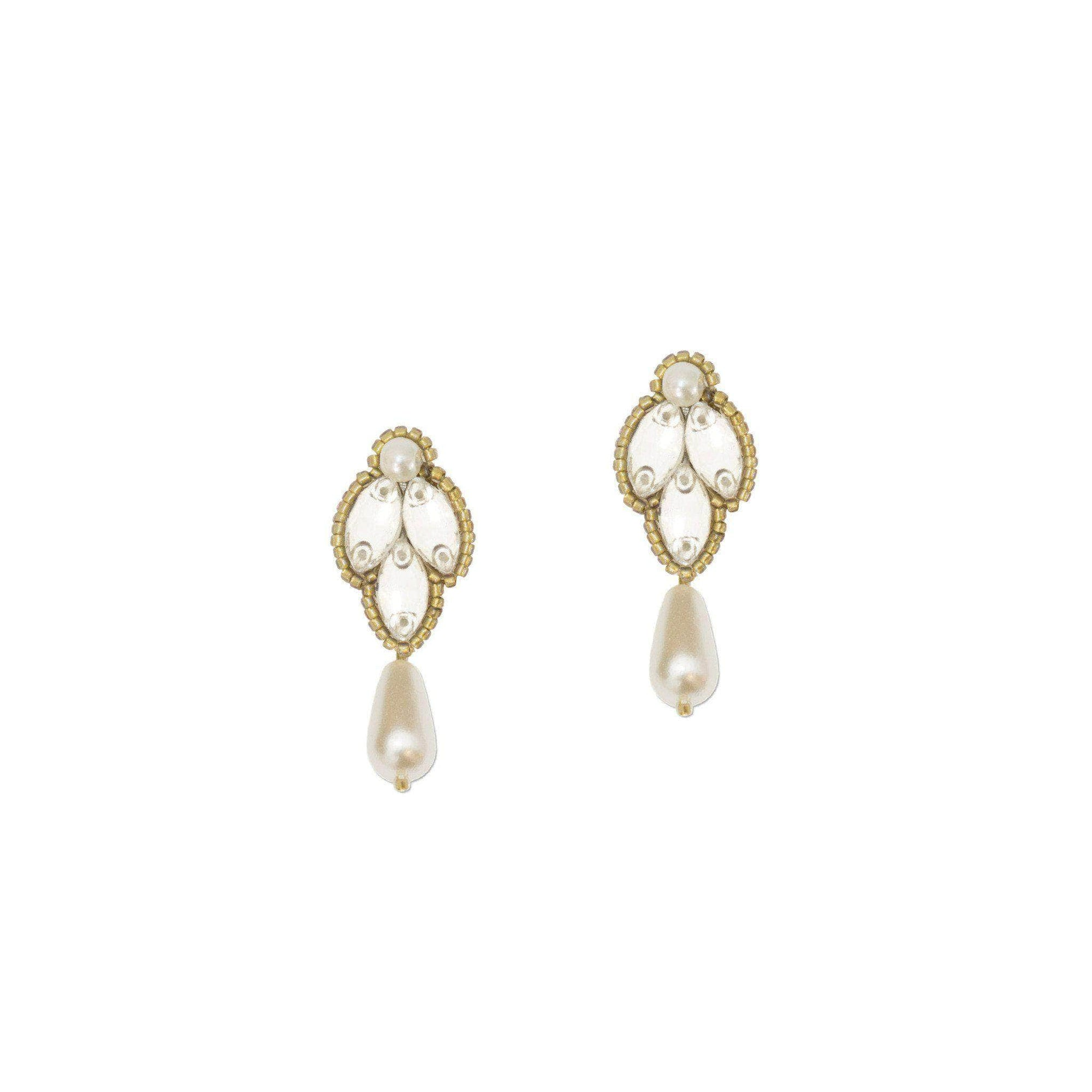 Wedding Earring gold Wedding drop earrings gold, pearl & crystal - 'Clem'