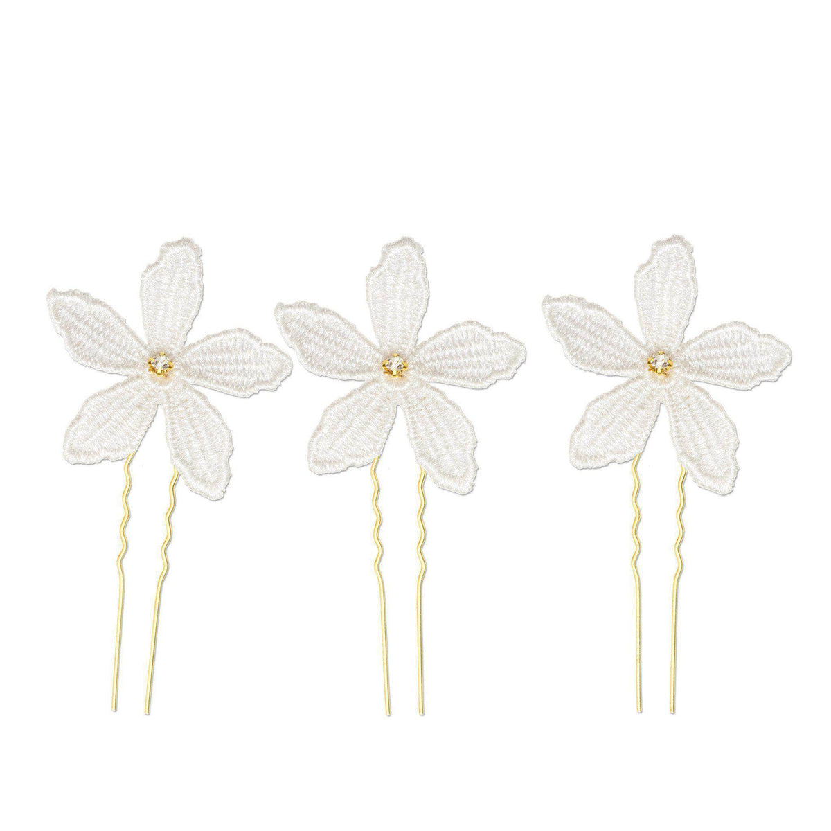 Wedding Hairpin Flower wedding hair pins gold (x3) - 'Clemence'