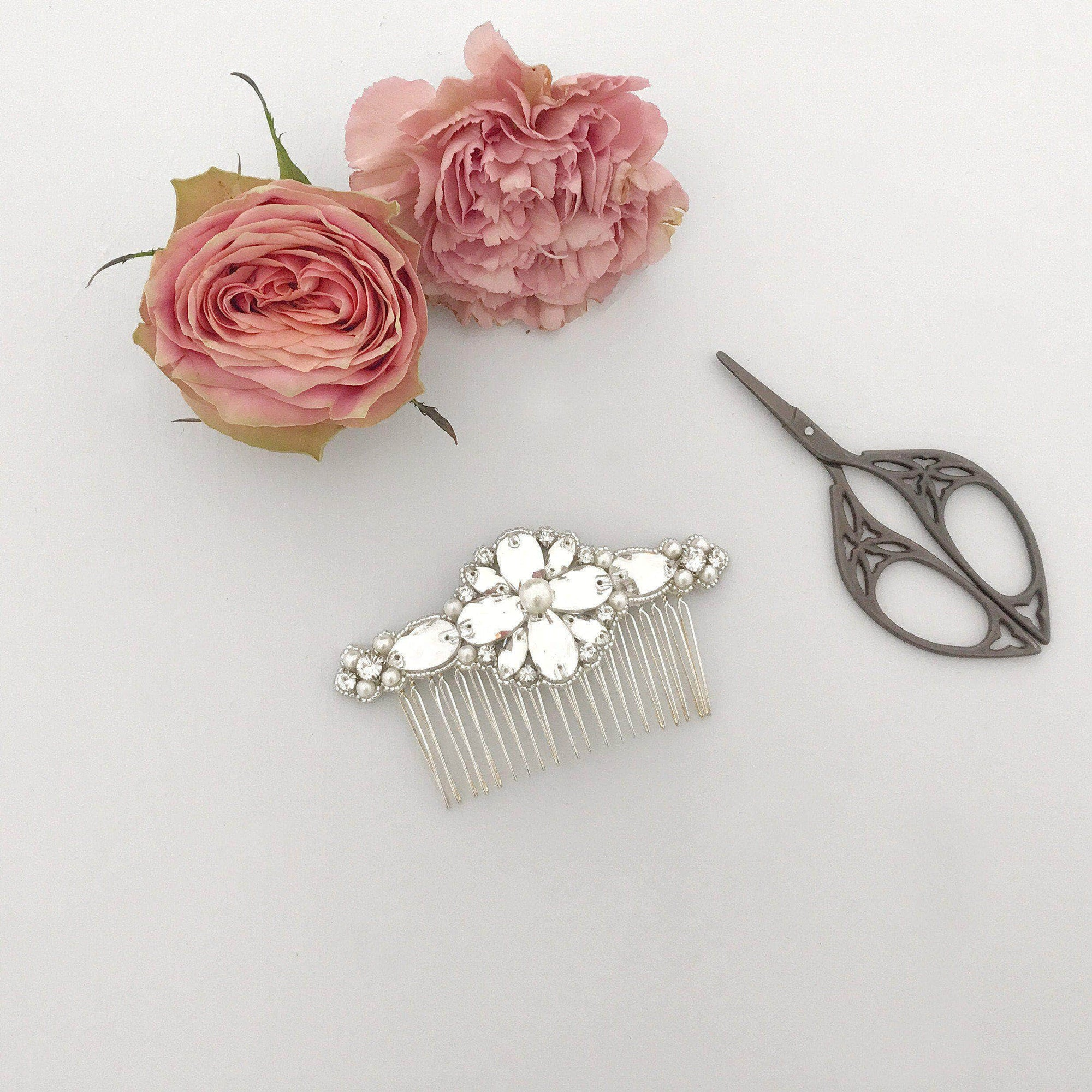 Wedding Haircomb Silver Crystal wedding hair comb - 'Aelia'