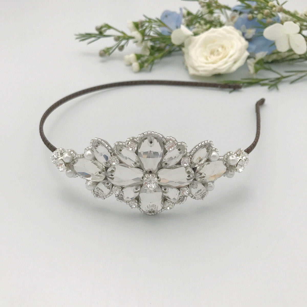 Silver wedding headband with crystals and pearls - 'Charia'